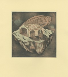 "Projection, Etching and woodcut, 6""X 6"", 2016"