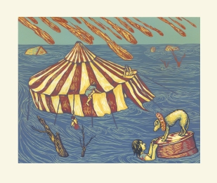 """Not my Circus. Reduction woodcut, 12""""X 18"""". 2015"""