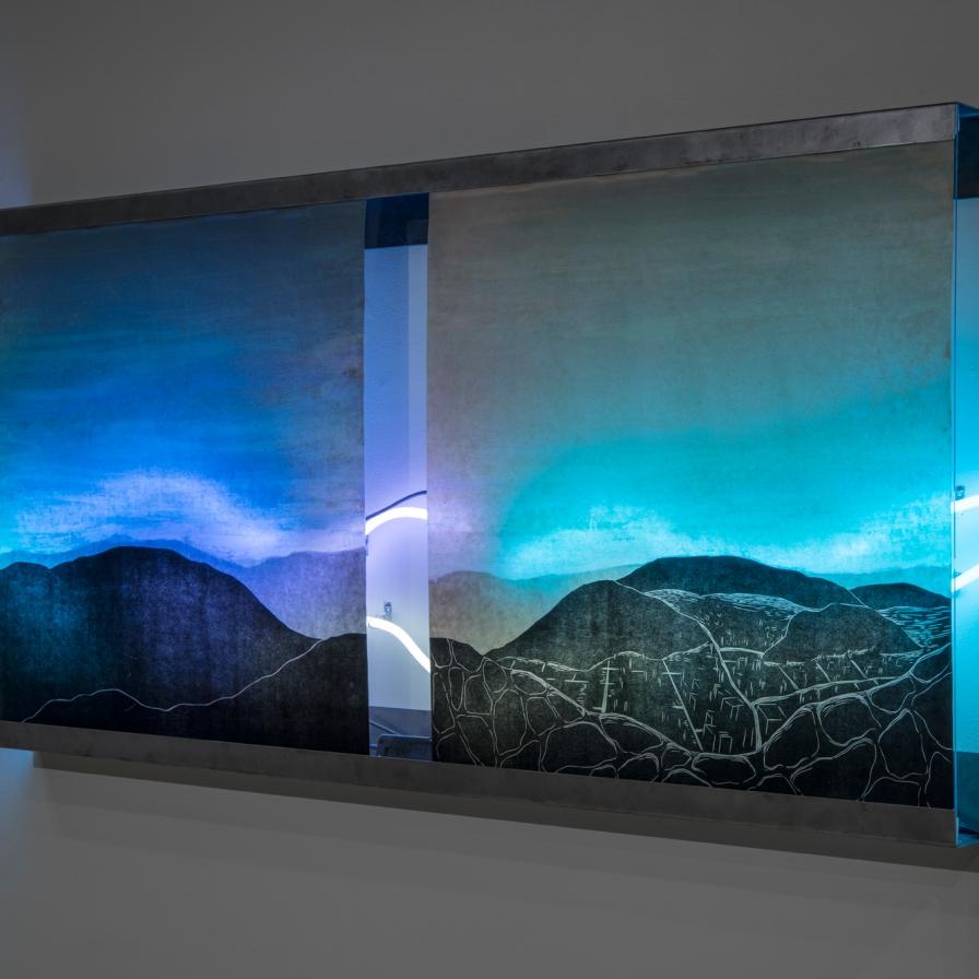 "Through. Waxed woodcuts with monotype, neon, steel, plexiglass. 38""X 77"", 2017"