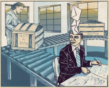 The Bureaucrat, Reduction woodcut. 2019